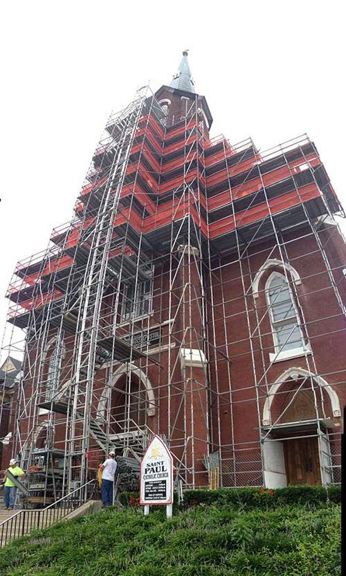 Scaffolding Platform St.-Paul-Church-Lexington-Ky-min-1