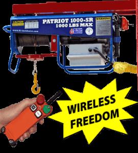 """A wireless Hi Tech cable hoist that reads """"Patriot 1000-SR, 1000 pounds max""""."""
