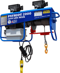"A Hi Tech cable hoist that reads ""Patriot 2000, 2000 pounds max""."