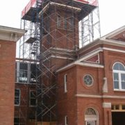 Scaffolding for tower restoration