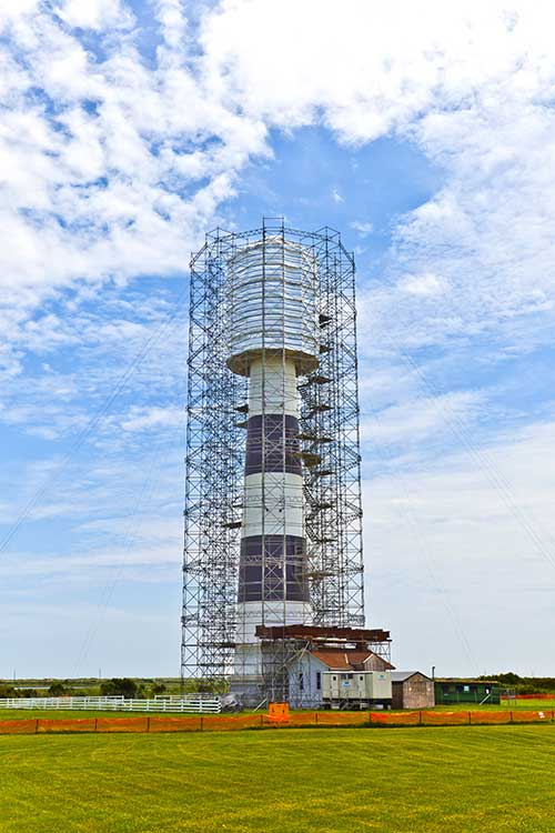 Bodie Island Lighthouse surrounded by Scaffolding
