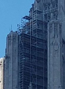 Chicago Tribune Building, close up view of scaffolding.